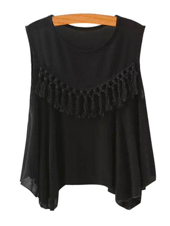 outfits Solid Color Tassel Splicing Sleeveless Tank Top - BLACK M