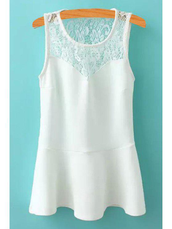 fancy Lace Spliced A-Line Scoop Neck Sundress - WHITE S