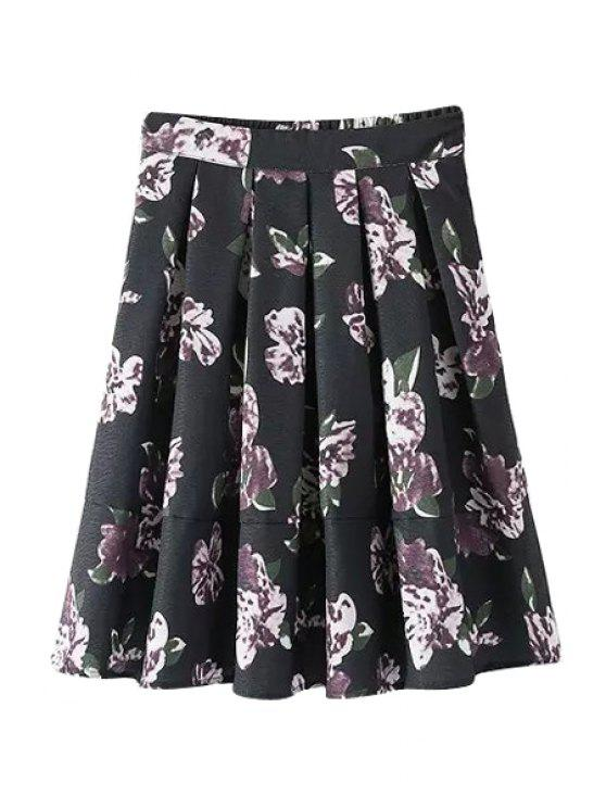 lady Floral A-Line High Waisted Skirt - BLACK M