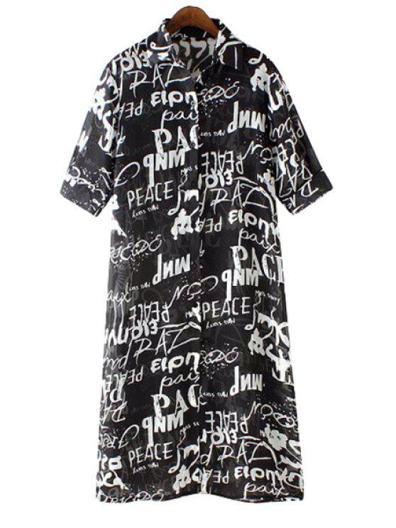 fancy Full Letter Print Half Sleeve Shirt - WHITE AND BLACK S