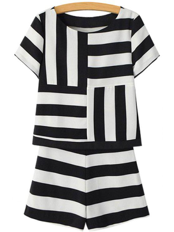 shop Short Sleeve Striped T-Shirt and Shorts Suit - STRIPE S