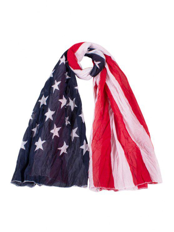 women's American Flag Print Color Block Scarf - RED