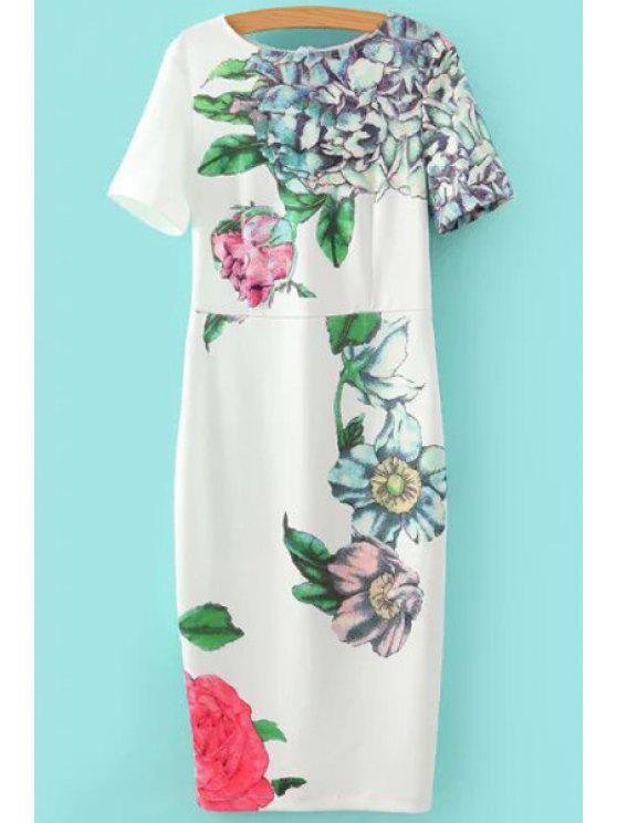 shop Floral Print Short Sleeve Slimming Dress - WHITE S