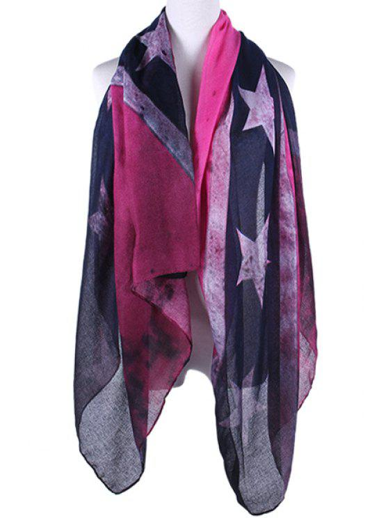 hot Five-Pointed Stars Print Scarf - PINK