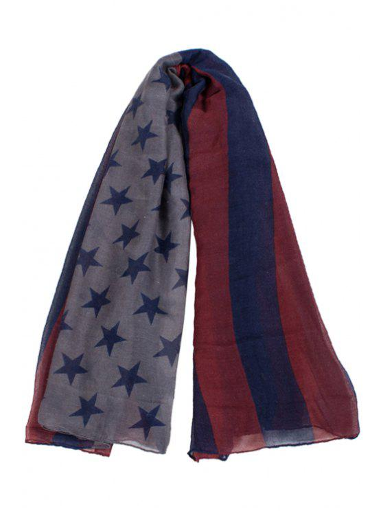 shops Stars and Stripes Print Scarf - BLUE
