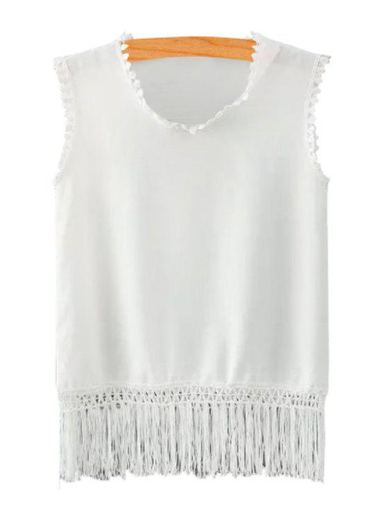 shops Solid Color Fringe Sleeveless Tank Top - WHITE S