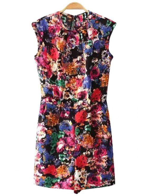 women Jewel Neck Floral Print Sleeveless Romper - COLORMIX S