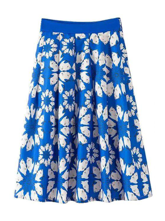 ladies White Floral Print Zipper Fly Long Skirt - BLUE S