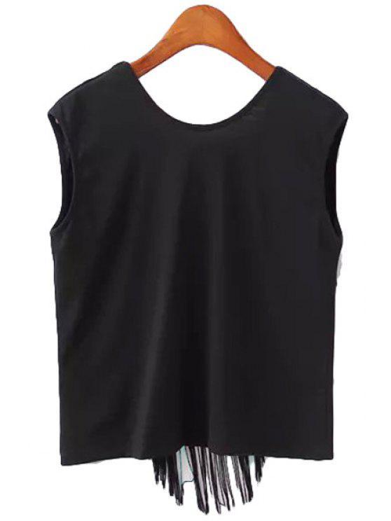 buy Fringe Solid Color Backless Tank Top - BLACK S