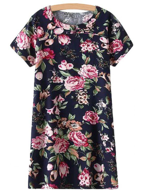 women's Red Floral Print Short Sleeve Dress - PURPLISH BLUE XL