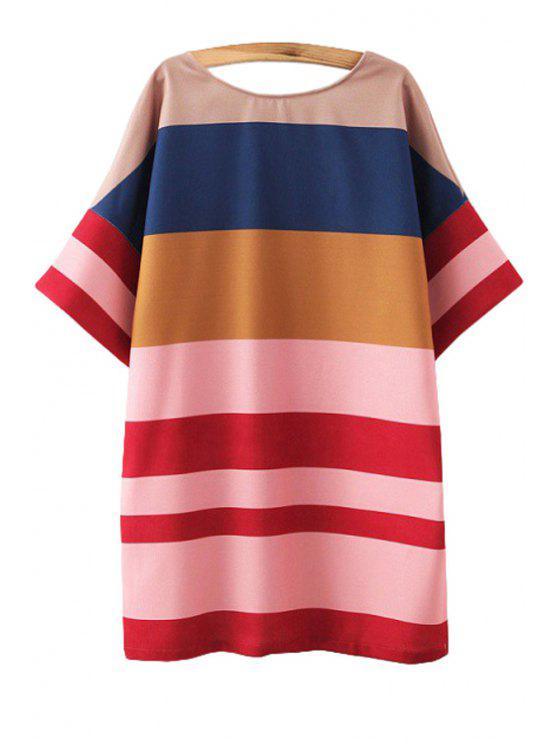 buy Color Block Stripe Short Sleeve Dress - COLORMIX S