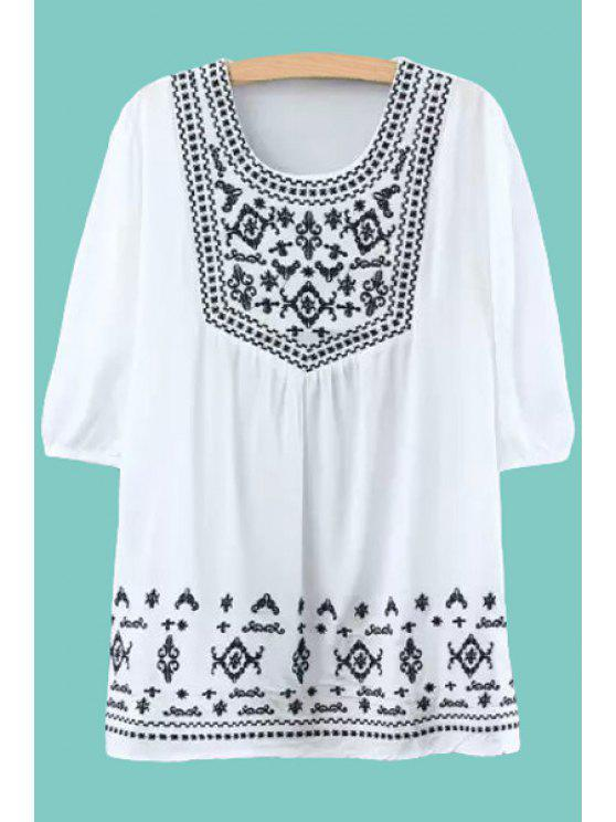 best Embroidery Half Sleeve Dress - WHITE ONE SIZE(FIT SIZE XS TO M)
