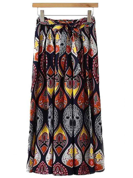 affordable Color Block Floral Print Long Skirt - COLORMIX L