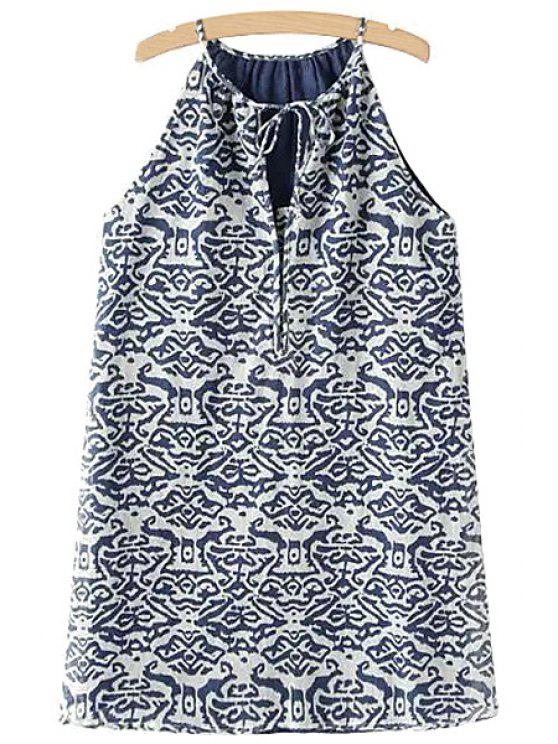 outfit Spaghetti Strap Blue Print Sleeveless Dress - BLUE AND WHITE S