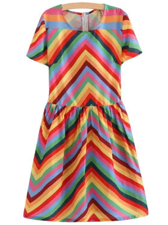 new Colorful Chevron Stripe Short Sleeve Dress - COLORMIX S