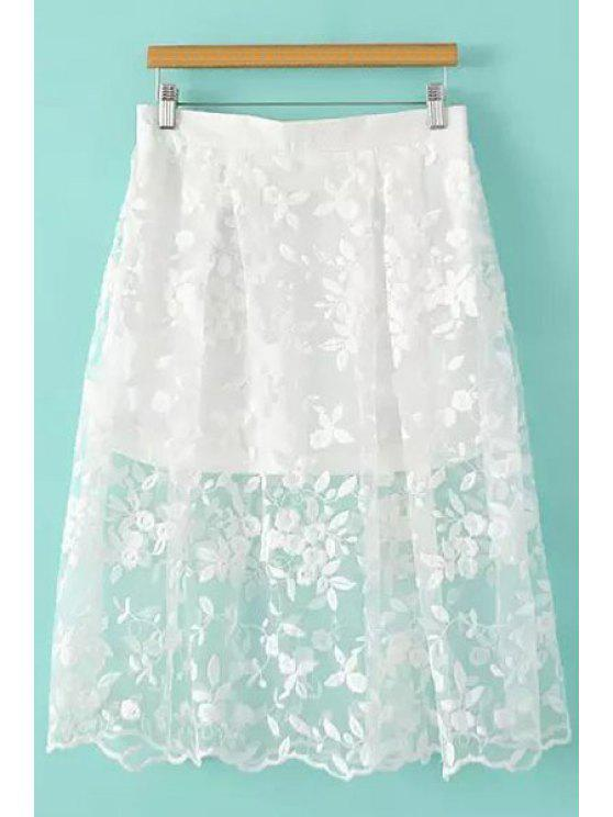 buy Floral Pattern Embroidery Skirt - WHITE S