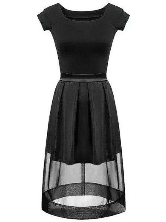 buy Black Short Sleeve T-Shirt and Voile Spliced Skirt Suit - BLACK S