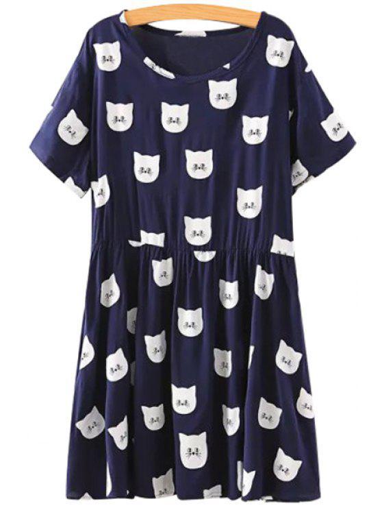 fashion Full Kitten Print Short Sleeve Dress - BLACK S