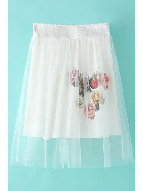 shop Sweet Style Floral Print Voile Splicing Skirt For Women - WHITE ONE SIZE(FIT SIZE XS TO M)
