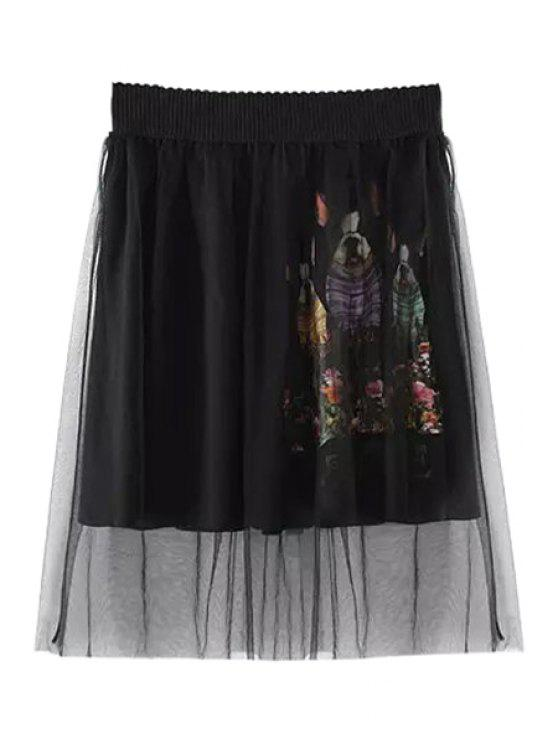 latest Dog Print Voile Splicing Skirt - BLACK ONE SIZE(FIT SIZE XS TO M)