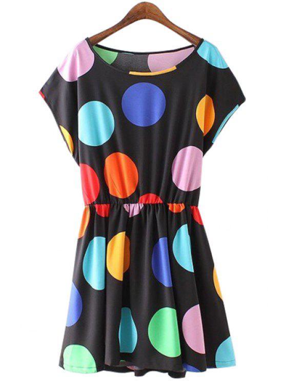 women Polka Dot Print Short Sleeve Dress - BLACK S