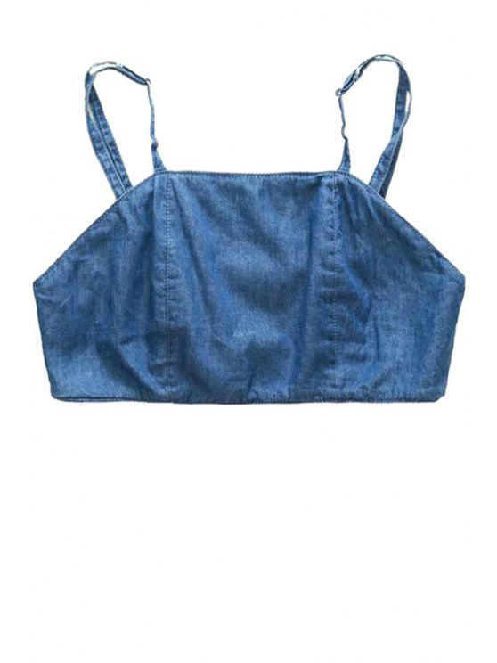 outfits Blue Denim Spaghetti Straps Crop Top - BLUE S