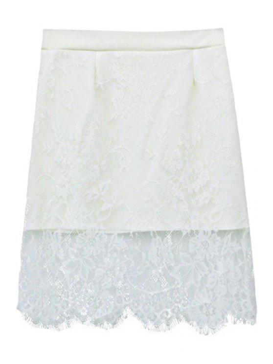 fashion Solid Color See-Through Lace Skirt - WHITE ONE SIZE(FIT SIZE XS TO M)
