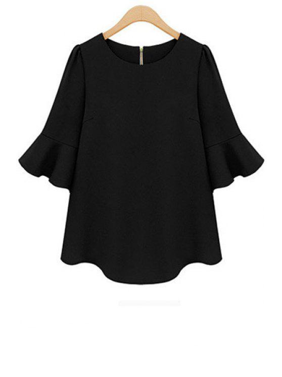 online Half Sleeve Chiffon Solid Color Blouse - BLACK S