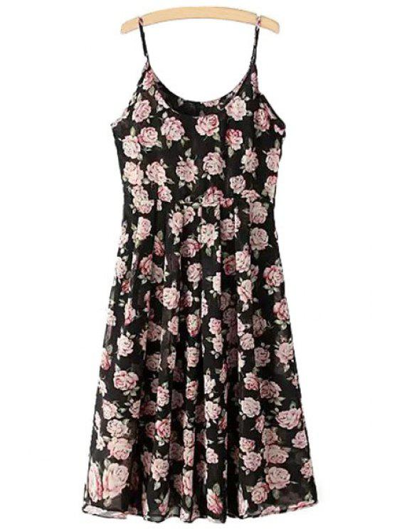 fancy Spaghetti Strap Floral Print Ruffle Sleeveless Dress - BLACK S