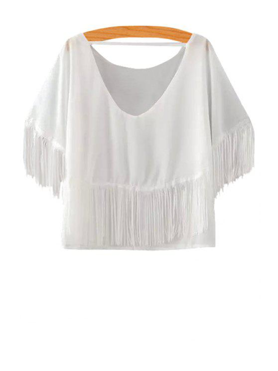 chic Solid Color Fringe Splicing Short Sleeve T-Shirt - WHITE M