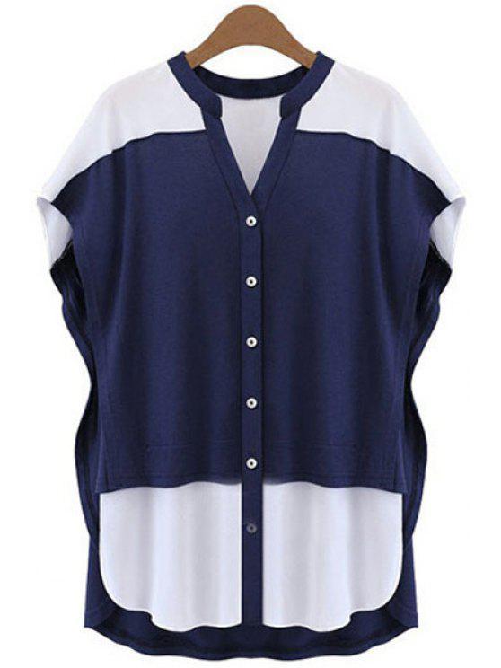 shops Color Block V-Neck Blouse - BLUE AND WHITE XL