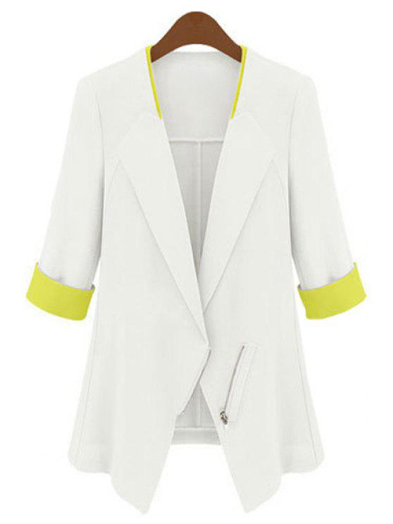unique Half Sleeves Color Block Blazer - WHITE S