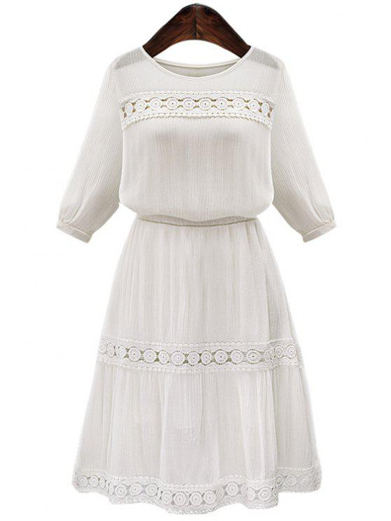 sale White Hollow Spliced Half Sleeve Dress - WHITE S