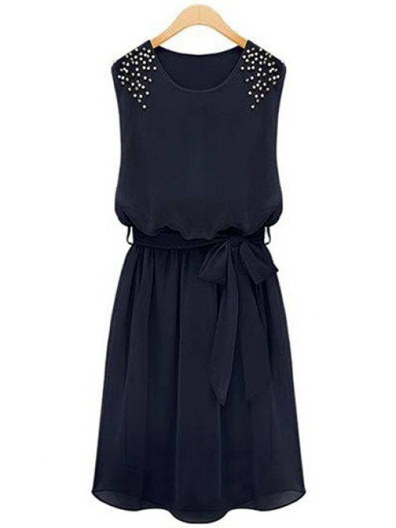 best Solid Color Beaded Sundress - BLACK S