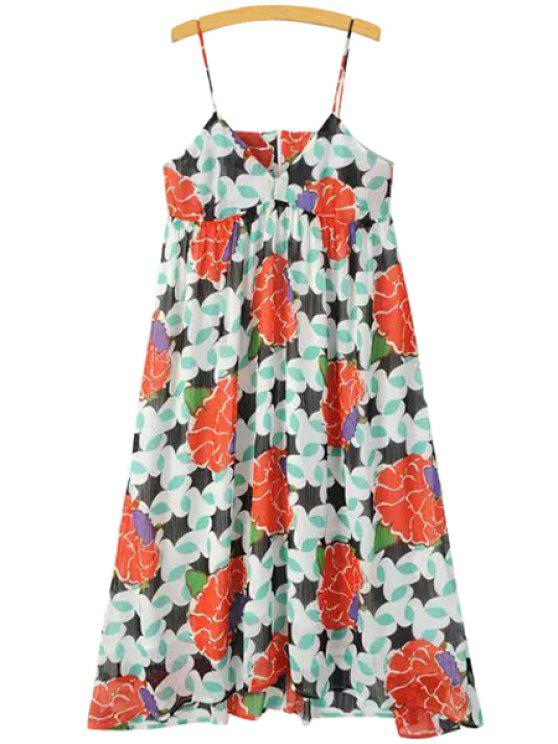 buy Spaghetti Strap Color Block Floral Print Ruffle Dress - AS THE PICTURE S