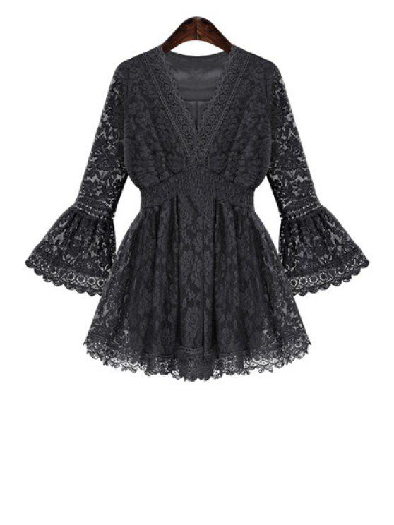 fashion Flare Sleeve Lace Blouse - BLACK XL
