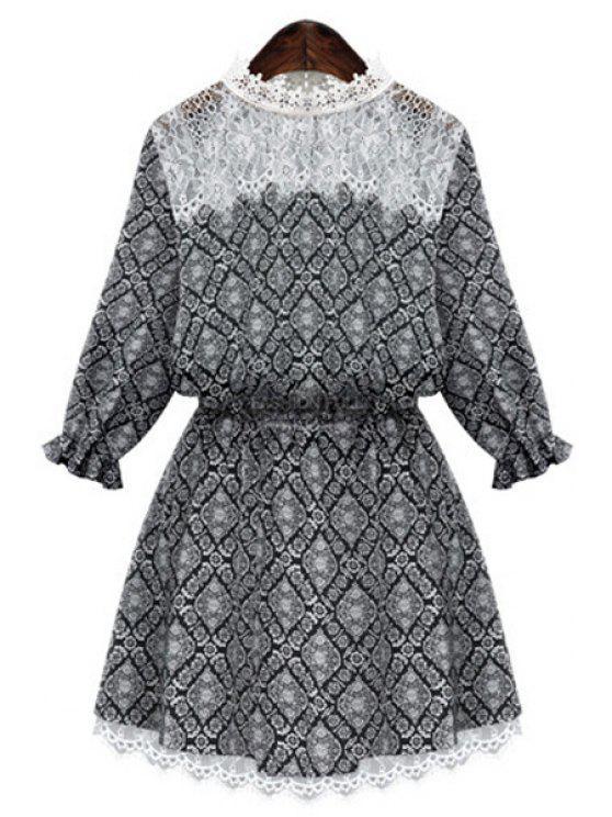 latest Print Lace Spliced 3/4 Sleeve Dress - BLACK S