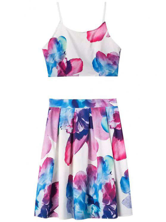 sale Floral Print Spaghetti Strap Tank Top + Pleated Skirt - COLORMIX S