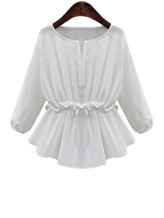online White Ruffles Spliced Long Sleeve Blouse - WHITE S