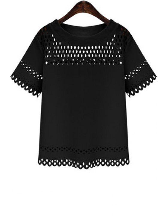 womens Short Sleeve Hollow Out T-Shirt - BLACK S