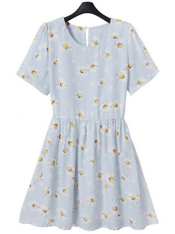 chic Full Flower Print Short Sleeve Flare Dress - LIGHT BLUE L