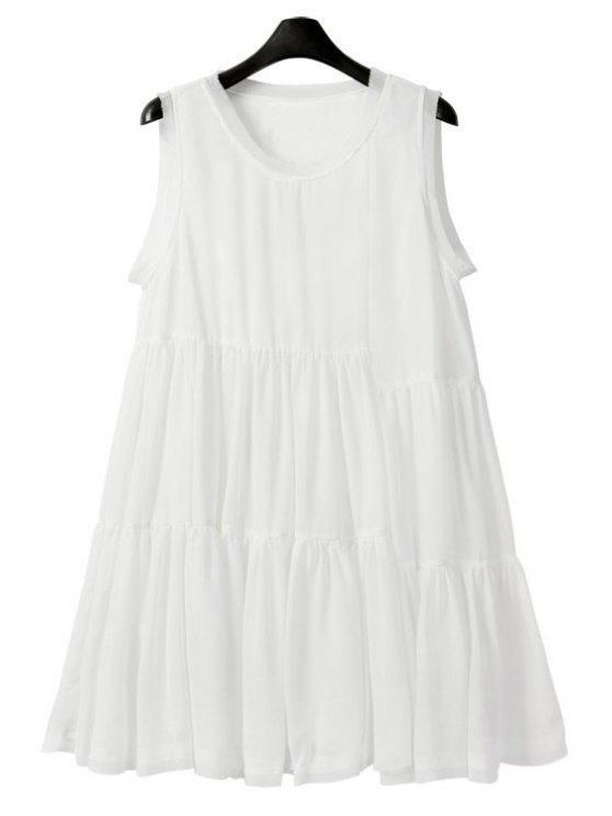 lady White A-Line Chiffon Sundress - WHITE S