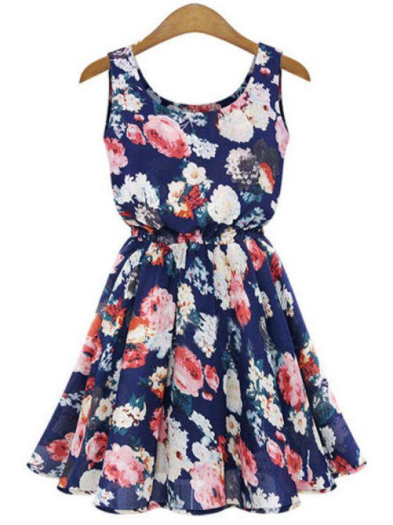 affordable Full Floral Print Flare Sundress - BLUE S