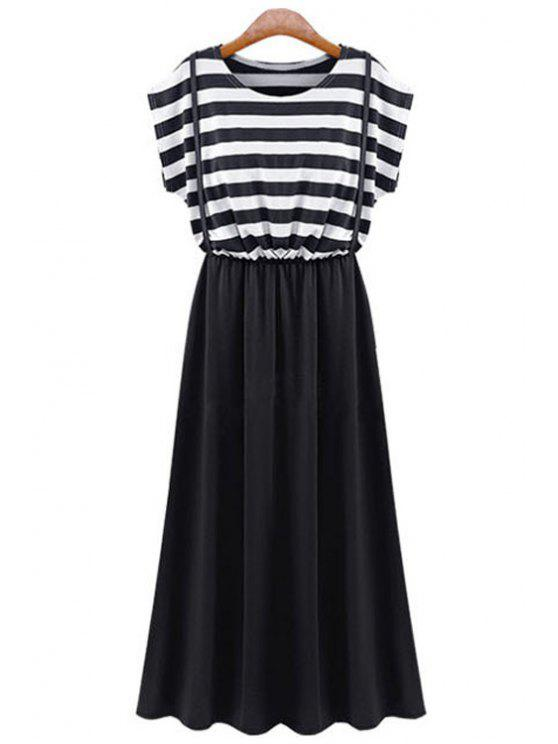 ladies Short Sleeve Stripe Splicing Dress - BLACK L