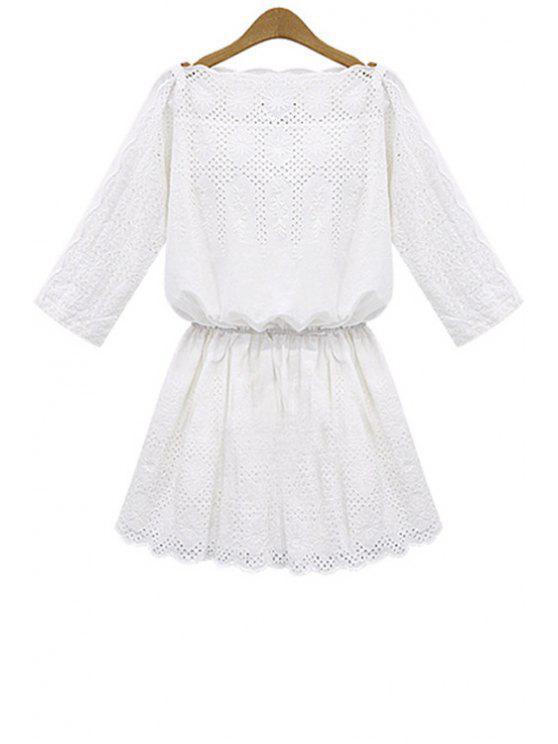 unique White Hollow 3/4 Sleeve Dress - WHITE S