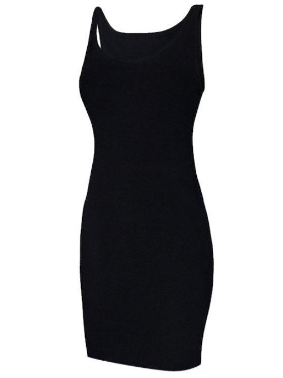 ladies Solid Color Sleeveless Bodycon Sundress - BLACK S