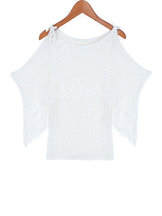 fancy Solid Color Fringe Off-The-Shoulder T-Shirt - WHITE ONE SIZE(FIT SIZE XS TO M)