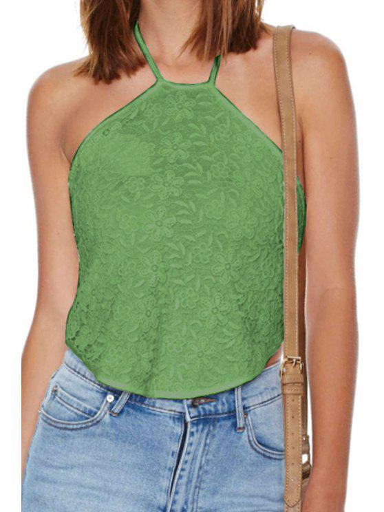 fancy Halter Lace Backless Tank Top - GREEN S