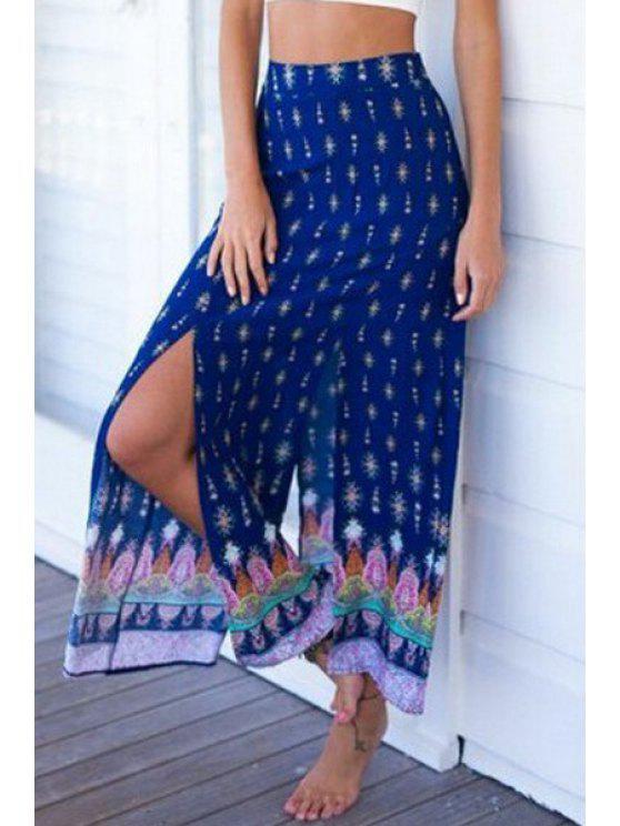 ladies High Slit Print Long Skirt - BLUE S
