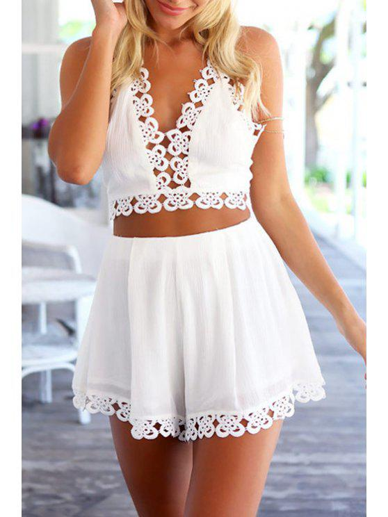 unique Tie-Up Backless Openwork Tank Top + Shorts - WHITE S